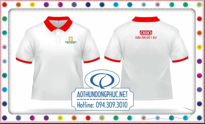 Mẫu đồng phục áo phông màu trắng công ty dầu ăn Oliio