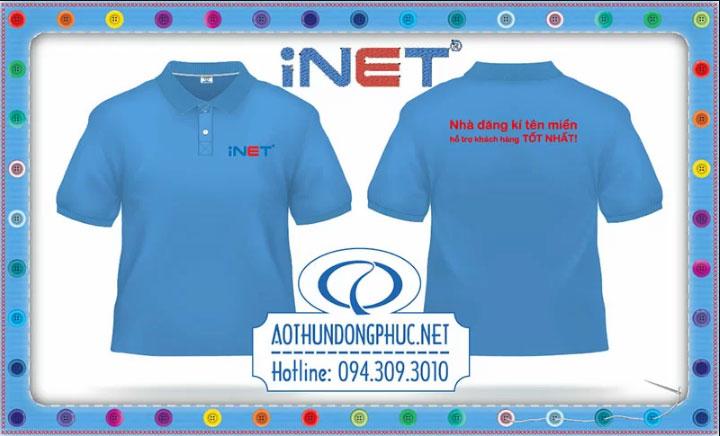 Thêu áo phông đồng phục nhân viên công ty iNET Thêu áo phông đồng phục theo yêu cầu Thiết kế mẫu thêu áo phông, thêu và may áo phông theo yêu cầu giá rẻ tại TpHCM