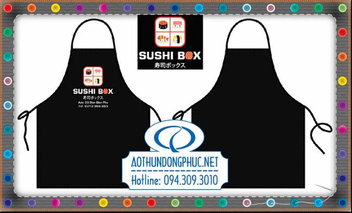 Mẫu tạp dề đồng phục quán ăn Sushi Box