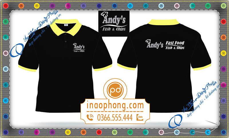 Áo phông đồng phục nhân viên quán ẩm thực Andy's Fast Food