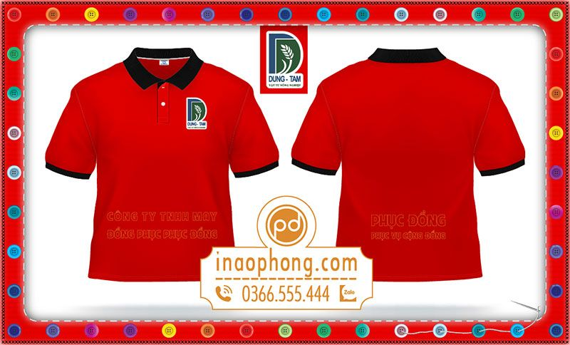 Mẫu áo phông có thêu logo công ty Dũng Tâm