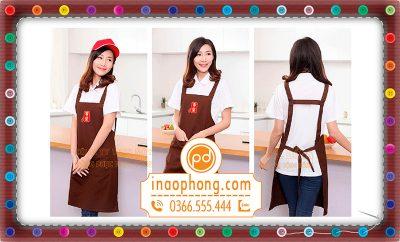 Đồng phục tạp dề yêm, đeo cổ đẹp nhất trà sữa Gong Cha