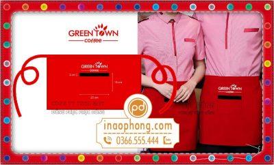 Mẫu đồng phục tạp dề đeo eo phục vụ Green Town Coffee