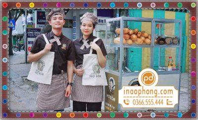 Comle 3 món đồng phục mũ đầu bếp, nơ gài cổ, tạp dề phục vụ đeo eo