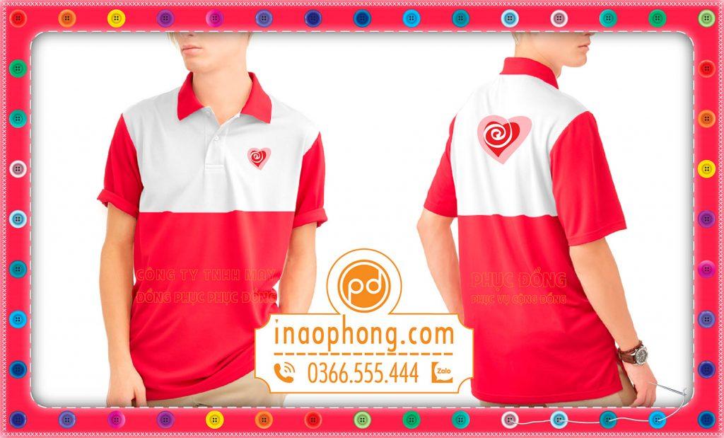 Áo đồng phục nhóm tình nguyện phối đỏ và trắng