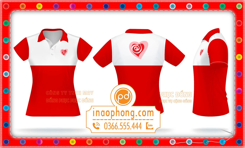 Mẫu thiết kế áo đồng phục nữ phối màu đỏ và trắng