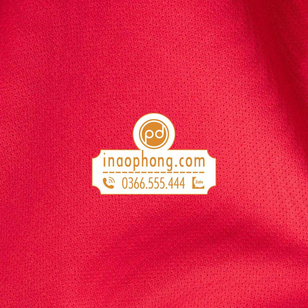 Mẫu vải đồng phục phông nữ phối màu đỏ và trắng