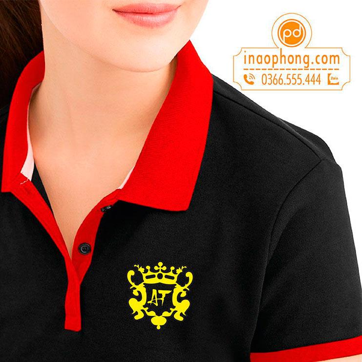 Hình in logo trên đồng phục áo thun nữ Karaoke AT