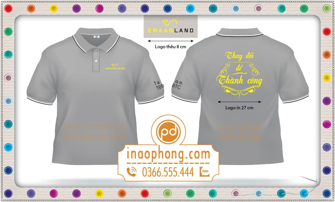 Mẫu thiết kế áo phông có in logo và thêu logo trên áo đồng phục Emaar Land