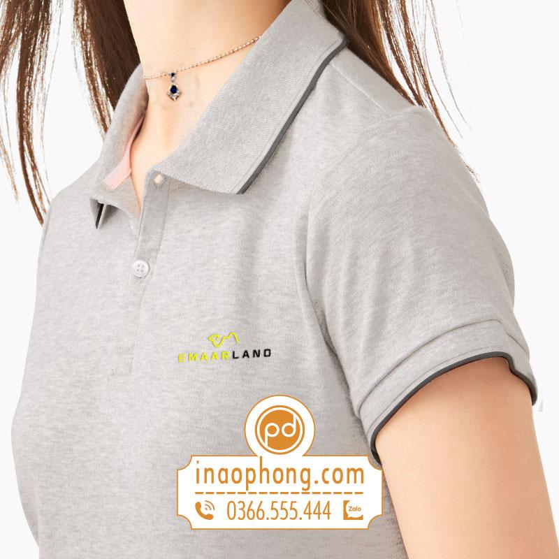Logo thêu lên áo phông đồng phục nhân viên Emaar Land