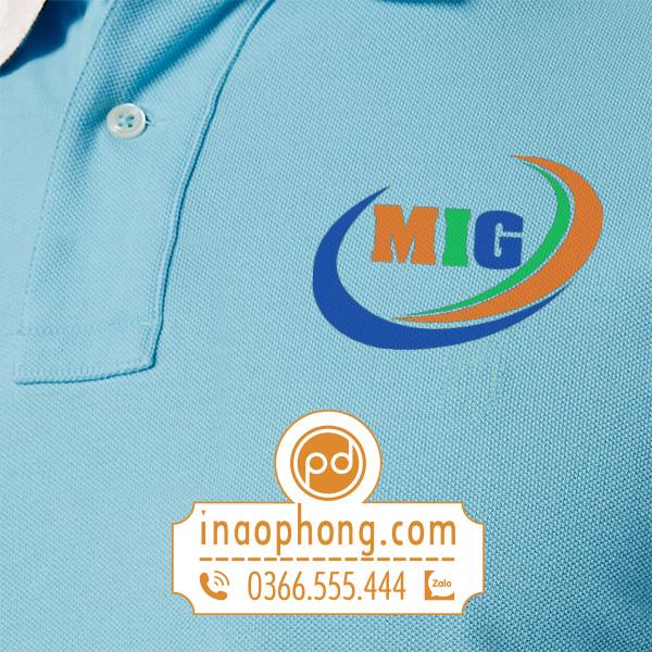 Logo in trên mẫu thiết kế đồng phục áo phông nhân viên công ty MIG
